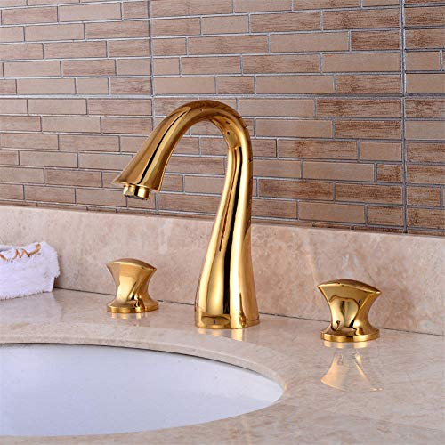 HUXO Bathroom Basin Sink Brass Faucet 3 Holes Two Handles Deck Mount Mixer Tap Golden Basin Three-Hole Faucet Bathroom Wash Basin Hot And Cold Double Three-Piece Faucet