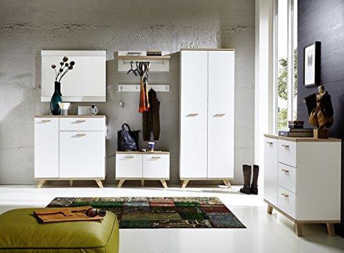 ambiato 5-TLG. Garderoben-Set NINA u.a. Garderobenschrank mit ausziehbarer Kleiderstange und Schuhschrank in Weiß/Sanremo-Eiche-Nb