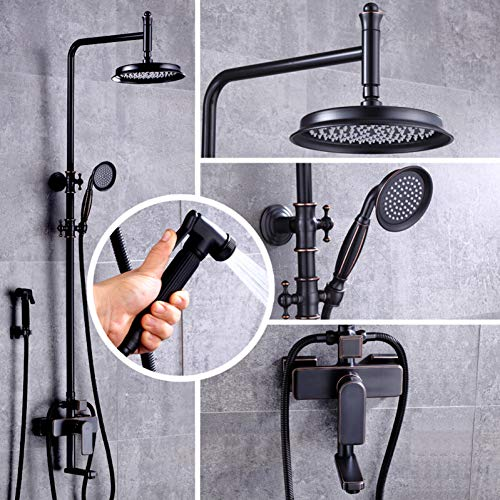 HUASAA luxe zwart brons douche mengkraan set dubbele handgreep hoogte instellen badkamer douche complete kit wit handdouche gieter
