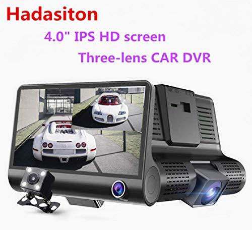SDRFSWE 4 inch HD IPS-scherm 1080P auto met drie lenzen DVR dashcam-opnameapparaat nachtzichtapparaat/G-sensor/bewegingsdetectie/lusopname with32Gcard