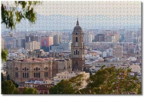 Rompecabezas de la catedral de Málaga de España para adultos y niños 1000 piezas Puzzle de madera Recuerdos especiales de viaje (compra 1000 piezas de rompecabezas y consigue 300 piezas gratis)