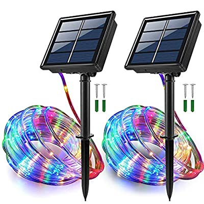 JosMega Upgraded Solar Powered String Rope Lights Outdoor, 33 Feet 100 LED 8 Modes Waterproof IP 65 Multicolor Twinkle Lighting Indoor Outdoor Fairy Firefly Lights 2 Pack