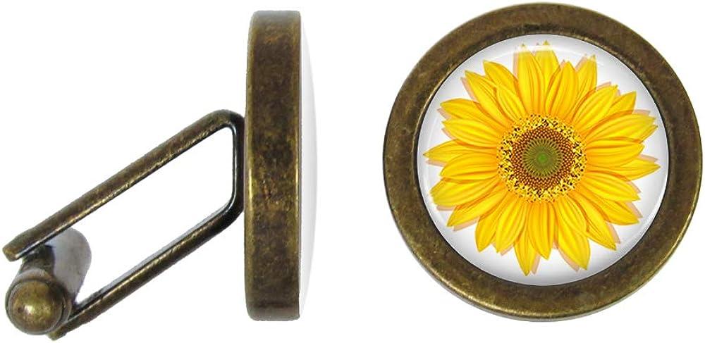 Oakmont Cufflinks Sunflower Cufflinks Sunflowers Cuff Links (Angled Edition)