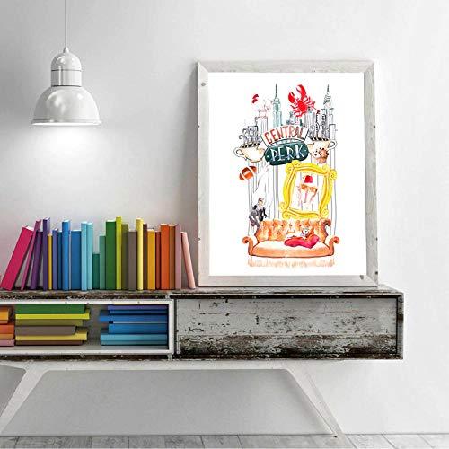 OCRTN Friends TV Show Poster Prints Central Acuarela Art Canvas Painting Friend Sublimación Diseños Imagen Home Wall Art Decor - 30x40cm Sin Marco