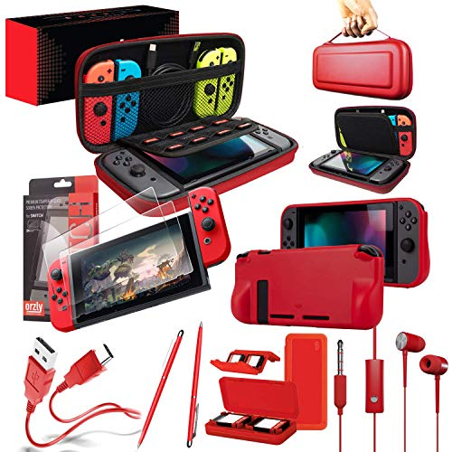 Switch Accessories Bundle - Orzly Essentials Pack for Nintendo Switch Case & Screen Protector, Grip Case, Games Holder, Headphones - Red Edition