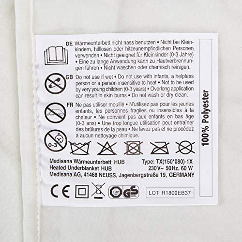 Medisana HUB Heating mattress pad (suitable for mattresses 150x80-100 cm), 2 levels of temperature - 60215