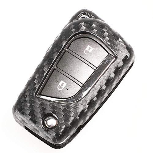 ZHHRHC Carcasa de Llave de Coche de Silicona de Carbono Remoto botón 2/3, para Toyota Auris Corolla Avensis Verso Yaris Aygo Scion TC IM 2015 2016