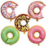 HORUIUS Donut Balloons Sweet Candy Multicolor Donut Shaped Aluminum Foil Mylar Balloons for Donut Theme Birthday Party Supplies Baby Shower Wedding Donut Time Balloons Decorations 28 inch 5PCS