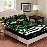Erosebridal Gamepad Fitted Sheet Queen Video Game Bedding Set Green Cartoon Gamer Pattern Sheet Set,Electronic Theme Bed Cover Soft Breathable Bedspread 3Pcs for Kids Teens Boys,Black