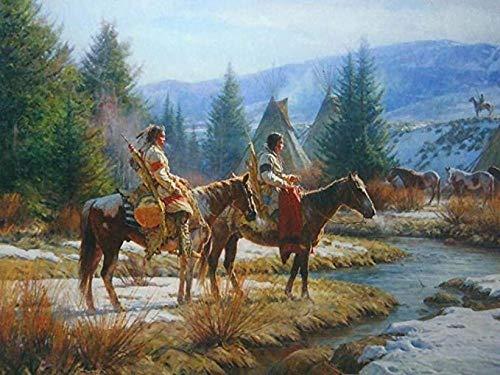 KELDOG® Houten puzzels Kinderen 1000 stukjes - Native American Western Carbine Hunting Winter Riding, volwassen houten puzzel, draagbaar opgerold zonder lijm