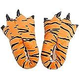 ZHER-LU - Pantofole a forma di zampa di artiglio, unisex, in morbido peluche, per la casa, con animali, (Tigre), 35.5 EU