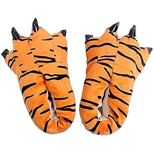 ZHER-LU Stofftier Klaue Pfote Hausschuhe, Unisex Kostüm Schuhe Weiche Plüsch Home Hausschuhe Tierkostüm Pfote Klaue Schuhe, Orange - tiger - Größe: 38.5 EU