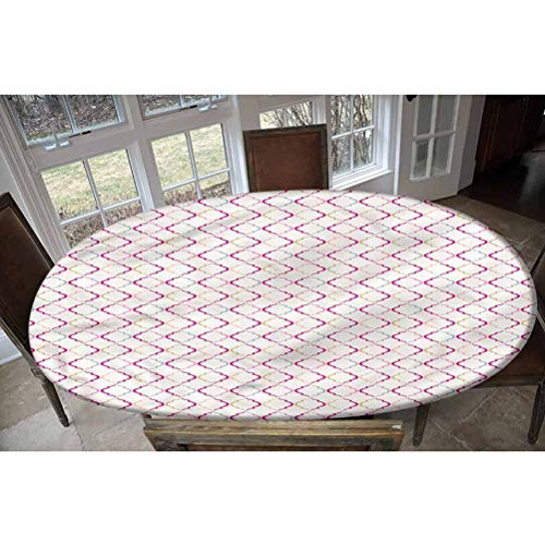 LCGGDB Trellis Elastic Edged Polyester Fitted Tablecolth -Victorian Ancient Oval- Oval/Olbong Fitted Table Cover - Fits Oval/Olbong Tables up to 36'x60',The Ultimate Protection for Your Table