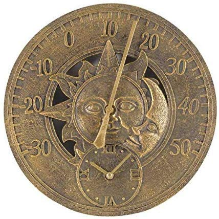 garden mile Large Vintage Sun & Moon Garden Indoor/Outdoor Wall Clock Thermometer Fence Ornament Weather Station Thermometer (Sun & Moon Clock