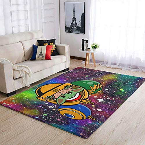 Christmas Pod Yoda Area Rug Patterned Fluffy Rectangle Floor Rugs Large Size for Living Room Traditional Fade Resistant Carpet white 91x152cm