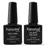 Kanorine Vernis à ongles Gel Semi-permanent UV/LED Base Top Coat Vernis de base et finition Manucure Kit 10ml x 2 Pcs