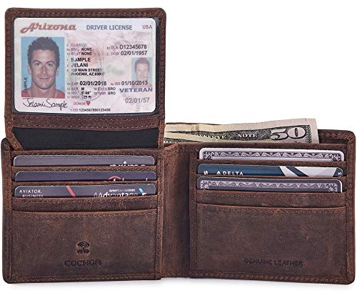 COCHOA Men#039s Real Leather RFID Blocking Stylish Bifold Wallet With 2 ID Window CRAZY HORSE COGNAC