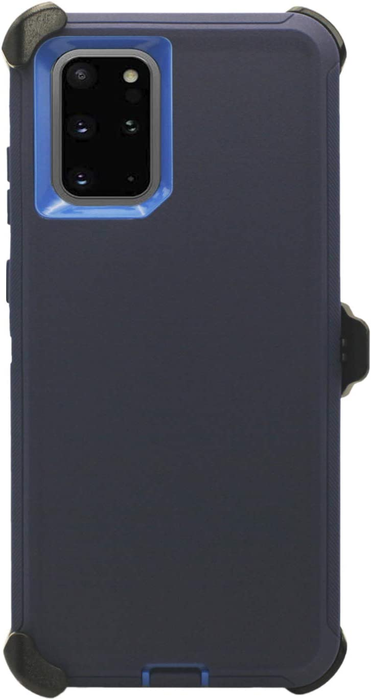 """WallSkiN Turtle Series Belt-Clip Holster Case for Galaxy Note 20 (6.7""""), 3-Layer Full Body Protective Defender Cover & Certified Shock, Drop, Dust Proof - Navy Blue/Blue"""
