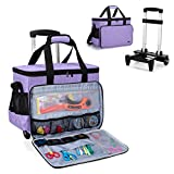 Yarwo Rolling Scrapbook Tote Bag with Wheels, Detachable Trolley Craft Carrying Case with Removable Bottom Wooden Board for Scrapbooking and Crafting, Purple