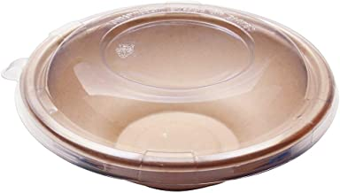 [500 SETS] 22 oz Round Disposable Bowls with Lids- Natural Sugarcane Bagasse Bamboo Fibers Sturdy 22 Ounce Compostable Eco Friendly Environmental Paper Plastic Bowl Alternative 100% by-product