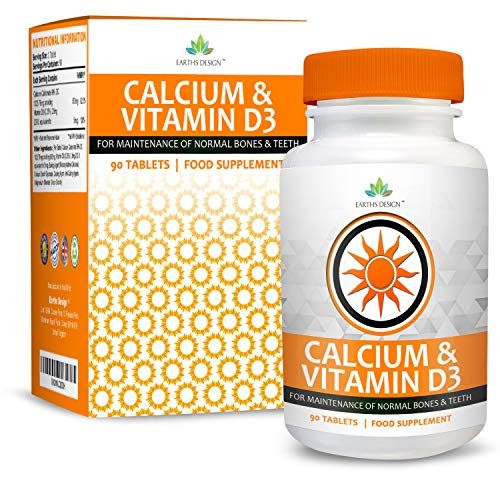 Calcium and Vitamin D3 Supplement - Suitable for Vegetarians - 90 Tablets (3 Month Supply) by Earths Design