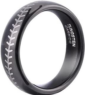 Mens 8mm Black Tungsten Carbide Rings Full Arc Baseball Pattern Wedding Bands