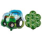 JSJJARD Globos Niños 1pc vehículo de Serie Feliz Cumpleaños Globos Partido decoración del Tanque de la Motocicleta Regalo del bebé vagón de Tren de Camiones contra Incendios (Color : Army Green)