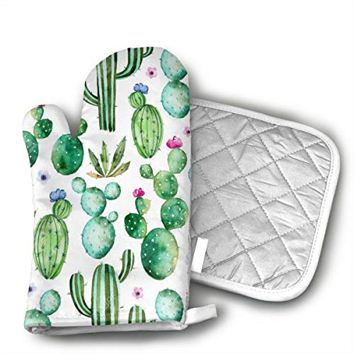Watercolor Cactus Cacti Flowers Oven Mitts and Potholders (2-Piece Sets) - Kitchen Set with Cotton Heat Resistant,Oven Gloves for BBQ Cooking Baking Grilling