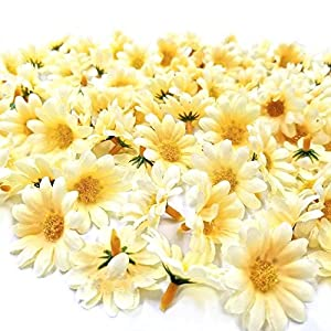 JZK 100 x Artificial Yellow Craft Daisy Daisies Fabric Flowers Heads, Party Wedding Table scatters Confetti Scrapbook Accessory Invitation Card Decoration Craft Gadget