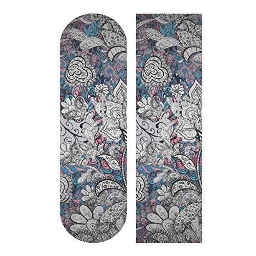 N\A 33,1 x 9,1 Zoll Sport Outdoor Skateboard Sandpapier Komplexe Blumen Drucken Wasserdichtes Skateboard Griptape für Tanzbrett Double Rocker Board Deck 1 Blatt