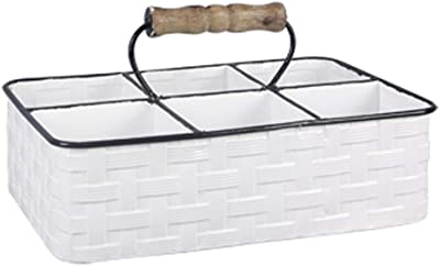 White Metal 6 Compartment Basket