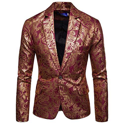 manadlian Homme Blazers Rétro Veste à Manches Longues Slim Fit Simple Boutonnage Jacket Veste de Costume Imprimé Manteau Blouson Outerwear Hiver