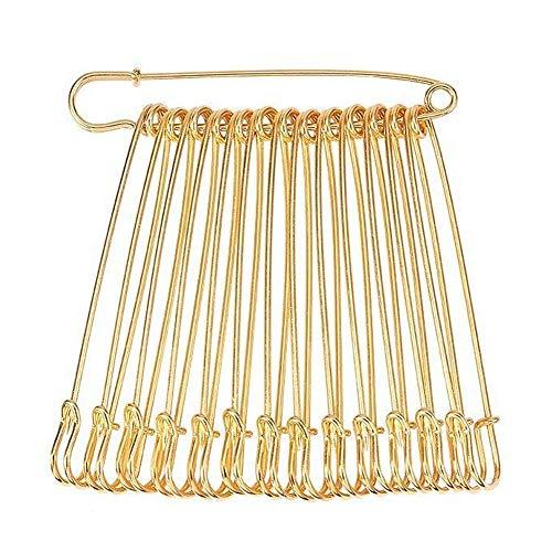 Flying swallow 20 Stück Extra Große Sicherheitsnadeln, riesigen Starken Sicherheitsnadel Metall Heavy Duty Blanket Pins für Schmuck Handwerk, Goldene (4 Zoll)