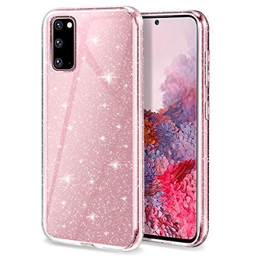 Preisvergleich Produktbild YIRSUR Hülle Kompatibel mit Samsung Galaxy S20 5G Hülle,  Samsung Galaxy S20 5G Handyhülle Case Transparent Glitzer Slim Anti Gelb Soft Silikon TPU Kompatibel mit für Samsung Galaxy S20 5G