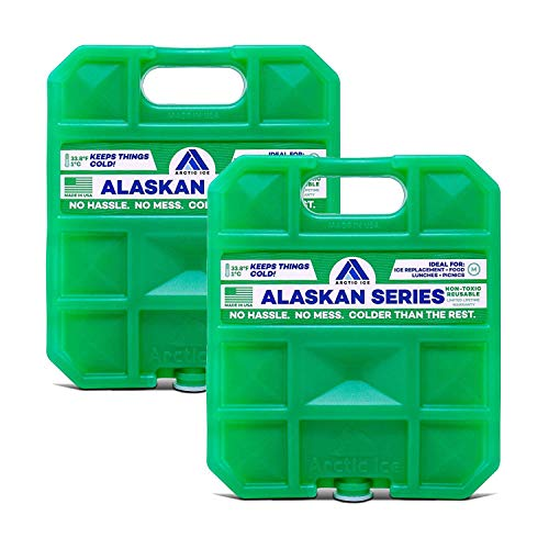 Arctic Ice Alaskan Series Reusable Ice Pack for Coolers, Lunch Boxes, Camping, Fishing, Hunting and More, Freezes at 33.8F (2-Pack) (0.75 LB - Small)