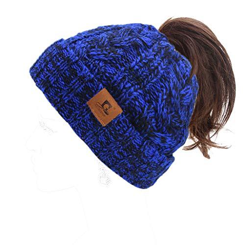 ZChun Vrouwen winterwarm gevlochten stretchy hoed verdikking eenkleurig hoge broodjes paardenstaart haken scullies muts cap