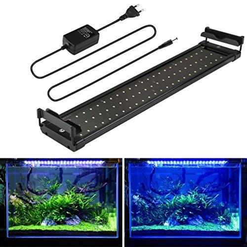 Aquarium LED Beleuchtung, Aquariumbeleuchtung Lampe Weiß Blau Licht 11W mit Verstellbarer Halterung für 50cm-70cm Aquarium