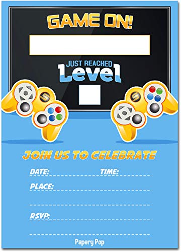 Video Game Party Invitations with Envelopes (15 Pack) - Kids Birthday Invitations for Boys or Girls - Video Game Party Decorations Supplies