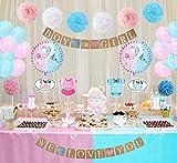 LUCK COLLECTION Baby Shower Decorazioni per feste Ragazzo o ragazza Genere Reveal Party Supplies Confezione da 84 pezzi