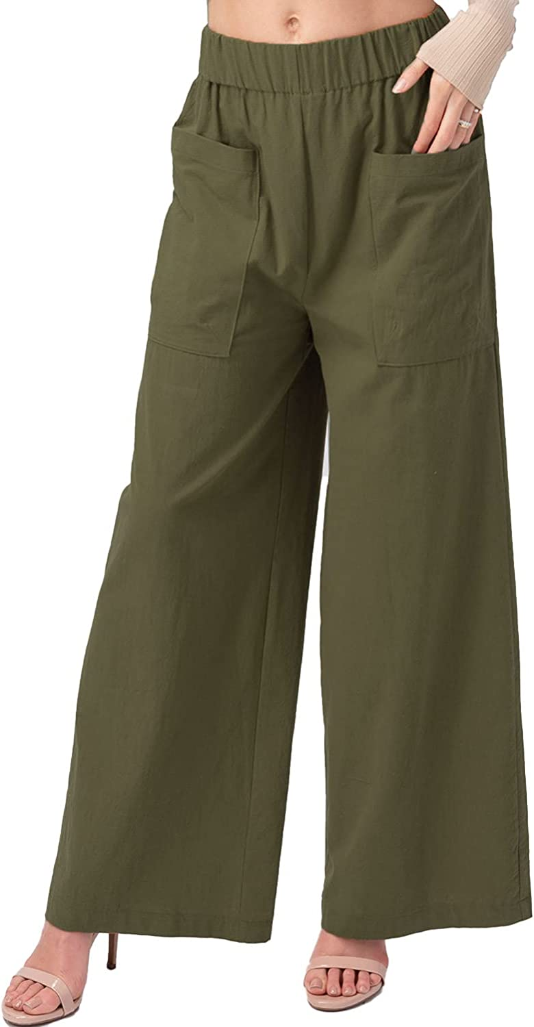 urbandaizy 1028 Women's Woven Pleated Wide Leg Pants with Lining