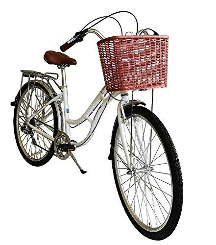 ECOSMO 700C Alliage pour Femme Shop City Road Vélo 7SP -28Ac02W + Panier