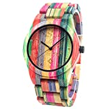 BEWELL Men's Wooden Watches Analogue Japanese Quartz Watch with Bamboo Bracelet Round Timepiece (Multicolour 1)