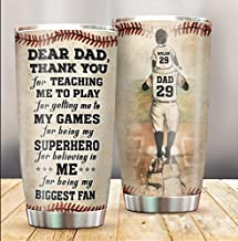 LeeGifts Personalized Dear Dad Thank You For Teaching Me To Play Baseball Dad And Son Thank You Customized Tumbler Gifts To Dad To Daddy To Birthday To Christmas