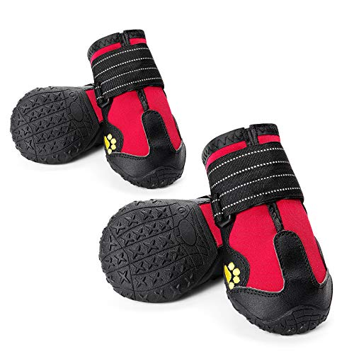 CUTEUP Dog Boots Waterproof Dog Shoes for Outdoor with Reflective Trim...