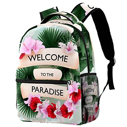 FuJae Mochila de viaje grande Mochila para portátil Bienvenido al paraíso tropical. Mochila ligera de vacaciones