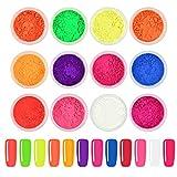 Ownest 12 Cajas Pigmento de uñas en polvo, Color fluorescente colorido Pigmentos de uñas Polvo Brillo de uñas Gradiente Decoración iridiscente de uñas