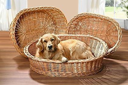 Hundekorb aus Vollweide, Gr. XL Der Hundekorb ist aus robuster Vollweide geflochten. Das macht ihn optisch sehr ansprechend und gleichzeitig stabil und widerstandsfähig. Farbe: Natur Maße ca.: 90 x 70 x 25 cm