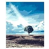 Wfmhra Paisaje de Pintura al óleo, árbol Solitario, Cartel de Lienzo Pintura al óleo Arte Mural impresión Sala de Estar decoración del hogar 70x90 cm sin Marco