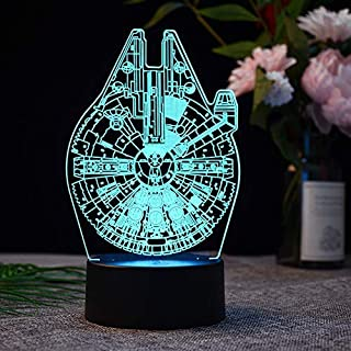 Easyinsmile Millennium Falcon 3D Night Light LED Illusion Lamp Bedside Desk Table Lamp Star Wars Toys Nightlight with 7 Colors Changing Decor Lamp