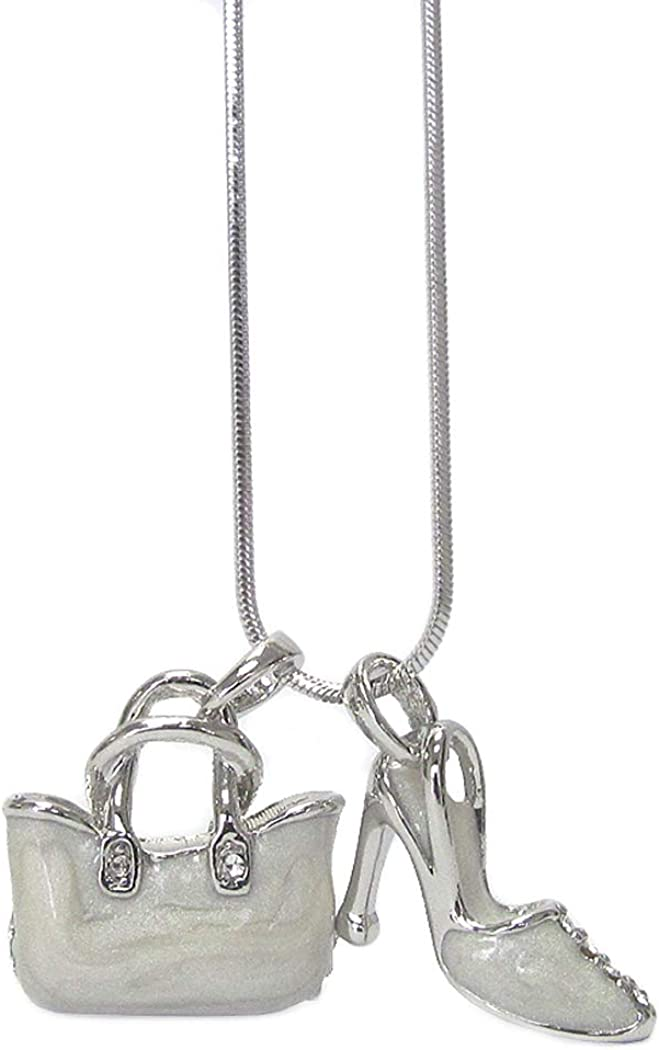 Fashion Jewelry ~ White Purse Handbag and High Heel Shoe Pendant Necklace for Women Girls Teens Girlfriends Birthday Gifts